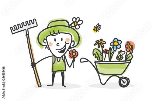 Obraz na plátně Garten Strichfiguren: Harke, Blumen, Schubkarre (1)