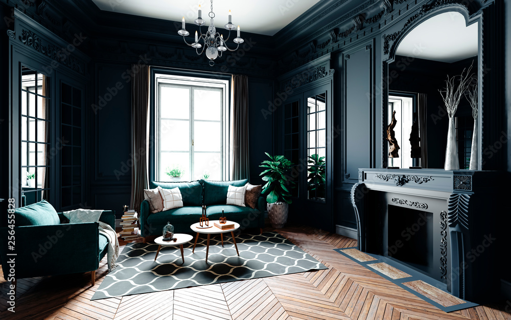 Fototapeta 3d render of beautiful classic interior