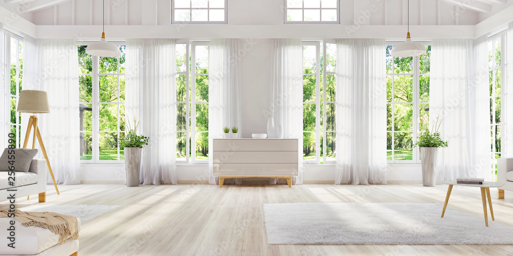 Fototapeta White interior design with large windows. Scandinavian interior design. For your creativity.