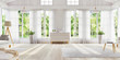 Leinwandbild Motiv White interior design with large windows. Scandinavian interior design. For your creativity.