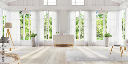 White interior design with large windows. Scandinavian interior design. For your creativity.