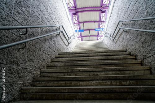 Fotografía  Underground passage stairs leading up on the street, underground crossing
