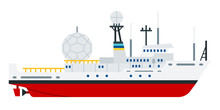 Military Communications Vessel Vector Flat Icon