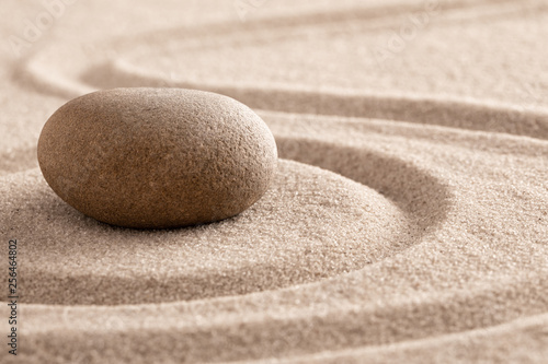 Poster Stones in Sand zen meditation stone and sand garden for mindfulness, relaxation, harmony balance and spirituality. .