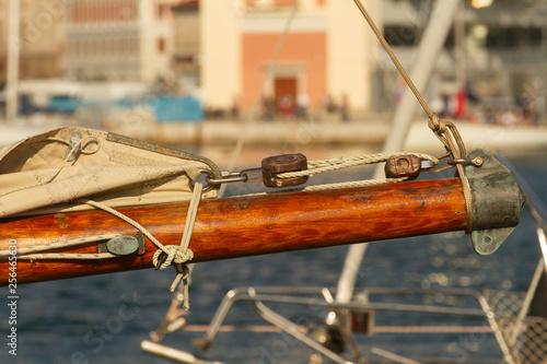 Photo Detail of an old mainsail (vintage wooden sailboat)