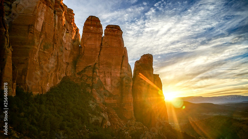 Canvas Prints Arizona Sedona Red Rocks in Arizona with Beautiful Blue Skies with Clouds and Cactus