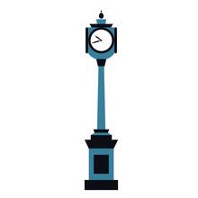 Street Clock Flat Illustration...