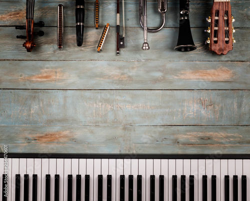 musical instruments in wooden background