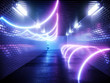 Neon background. Cyberpunk electronic night background concept. 3d rendering.