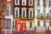 Beautiful Architecture With Britain's Classic Red Telephone Boxes In Mayfair, London. Digital Artwork