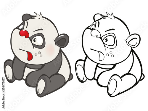 In de dag Babykamer Vector Illustration of a Cute Cartoon Character Panda for you Design and Computer Game. Coloring Book Outline Set
