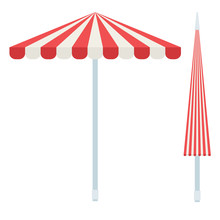 Striped Beach Umbrellas Vector Icon Flat Isolated