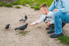 Father With Son Feeding Doves