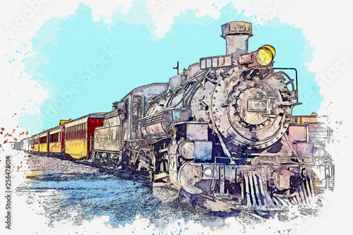 Obraz pociąg  szkic-akwarela-lub-ilustracja-staromodnego-pociagu-przewoz-pasazerow-i