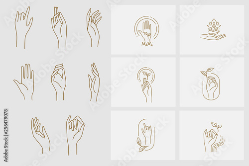 Vector icon and logo with hand for natural cosmetics and care dry skin. Editable outline stroke size. Line flat contour, thin and linear design. Simple icons. Concept illustration. Sign, symbol