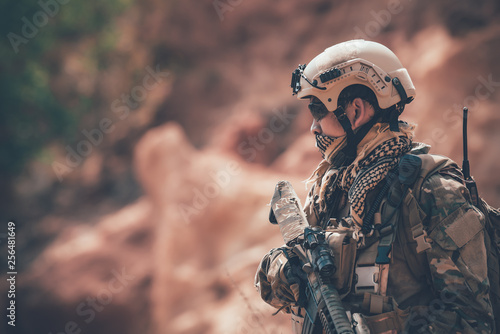 Valokuva  Soldiers of special forces on wars at the desert,Thailand people,Army soldier