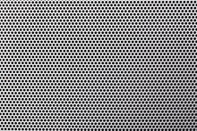 Metal Mesh With Holes. Circular Shapes Grid. Grunge Steel Structure Gray Pattern.