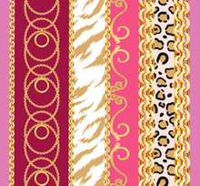 Seamless Pattern With Chains, Baroque Ornament On Leopard, Giraffe And Zebra Background.