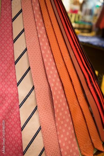 Fotografiet  silk ties ordered in a store
