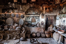 Old Time Village Kitchen. Rustic Cooking Accesories In Ancient Pantry