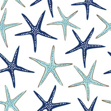 Coastal, Nautical Starfish Repeat Pattern. Navy Blue And Turquoise Sea Stars On A White Background. Seamless Vector Design With Fresh Clean Look That Says Vacation, Beach Wedding Or Resort And Spa.