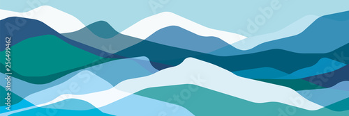 Stickers pour portes Piscine Color mountains, translucent waves, abstract glass shapes, modern background, vector design Illustration for you project