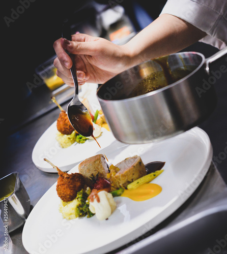 Chef preparing food, meal, in the kitchen, chef cooking, Chef decorating dish Wallpaper Mural