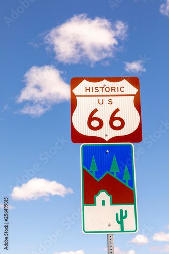 Poster Route 66 Route 66 sign under clear blue sky