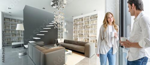 Fényképezés  Couple in modern luxurious interior