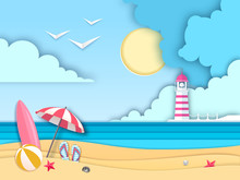 Sea Or Ocean Landscape, Sea Beach With Lighthouse Cut Out Paper Art Style Design