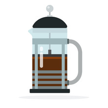 French Press Coffee Maker Vector Flat Isolated