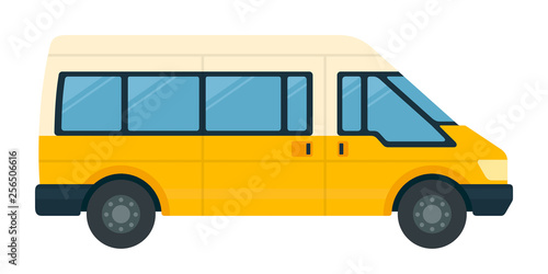 Vászonkép Minibus for passengers with luggage vector icon flat isolated