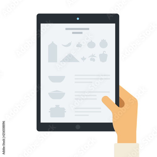 Fotografía  Recipe on the tablet screen flat icon vector isolated