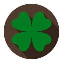 Clover Flat Icon On Chocolate Background For Any Occasion