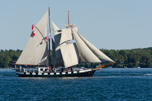 Tall Ship Under Fulll Sail Off The New York  State Coastline.