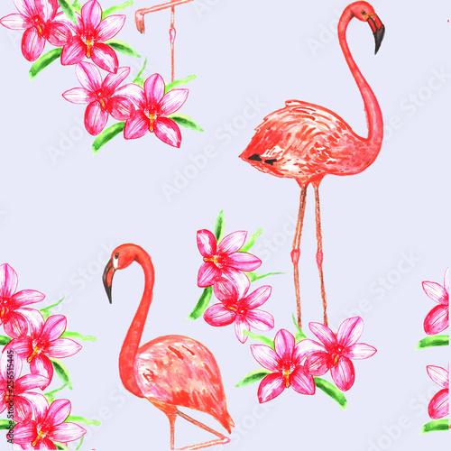 Jednolite wzór z flamingów i kwiatów. Akwarela