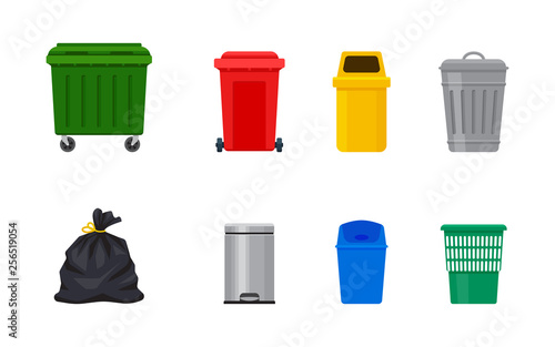Fototapety, obrazy: Flat illustration of street and in-house trash bins. Metal and plastic garbage containers. Colorful recycle trash buckets and bag vector set. Trash bin with pedal and swing top. Metal bucket with cap.