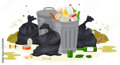 Fotografering  Vector illustration: Metal garbage containers with unsorted trash