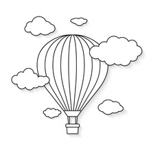 Hot Air Balloon With Clouds Fo...