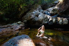 Yoga Session By Waterfall On Koh Chang