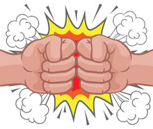Two Cartoon Fists Hands Perfor...