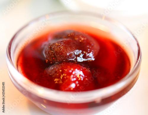 Fotografie, Obraz  Beautiful delicious strawberry jam in a plate