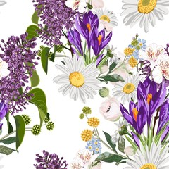 Fototapeta Łąka Crocuses with many kind of spring flowers and meadows seamless pattern. Watercolor style Illustration. White background. Trendy spring flower wallpaper or fabric.
