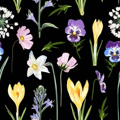Fototapeta Łąka Crocuses with herbs and many kind of spring flowers and meadows seamless pattern. Watercolor style Illustration. Black background. Trendy spring flower wallpaper or fabric.