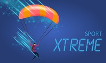 Xtreme Sport Banner. Young Man...