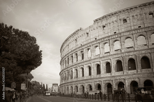 A snapshot of the Colosseum in black and white. Canvas Print