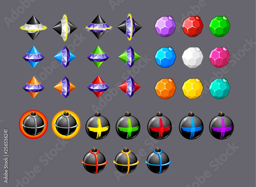Photo  vector set of colorful bombs and diamond rockets