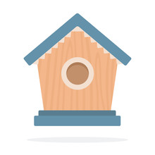 Wooden Birdhouse Vector Flat Isolated