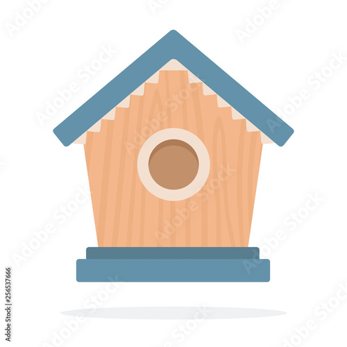 Fotografía Wooden birdhouse vector flat isolated