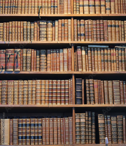 Poster Bibliotheque old books on wooden shelf;